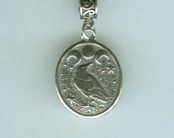 Sterling RAVEN with Triple Moon Bead Charm for  all Name Brand Add a Bead Bracelets - Charm