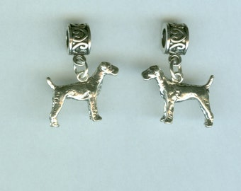Sterling AIREDALE Dog Bead Charm for All Name Brand Add a Bead Charm Bracelets- 3D Heavy