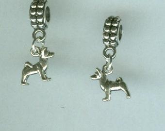 Sterling  HUSKY Dog Bead Charm for Trollbead, European and all Name Brand Add a Bead Bracelets - Charm - 3D