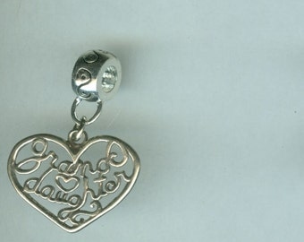Sterling GRANDAUGHTER Bead Charm for All Name Brand Add a Bead Charm Bracelets