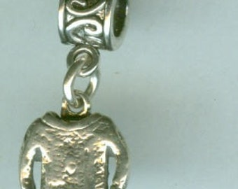 Sterling KNITTED SWEATER Bead Charm for all Name Brand Add a Bead Bracelets  - 3D