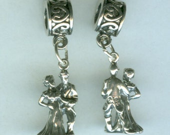 Sterling BALLROOM DANCERS Bead Charm for  All Name Brand Add a Bead Charm Bracelets - 3D