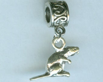 Sterling BEAVER Bead Charm for All Name Brand Add a Bead BraceletsFrom ShymaliLlamas- 3D
