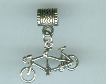 Sterling 3D TANDEM BICYCLE Bead Charm for All Name Brand Add a Bead Bracelets - 3D Bicycle for Two