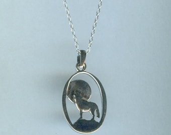Sterling WOLF Howling at the Moon Pendant AND Chain