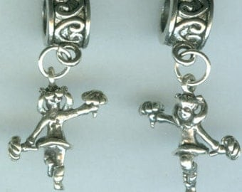 Sterling  CHEERLEADER Bead Charm for  All Name Brand Add a Bead Charm Bracelets - 3D