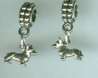 Sterling Silver CORGI DOG Bead Charm for  All Name Brand Add a Bead Bracelets- 3d Mini