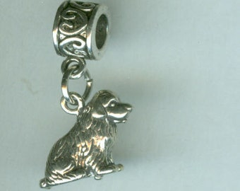 Sterling Silver NEWFOUNDLAND DOG Bead Charm for All Name Brand Add a Bead Charm Bracelets - 3d Heavy
