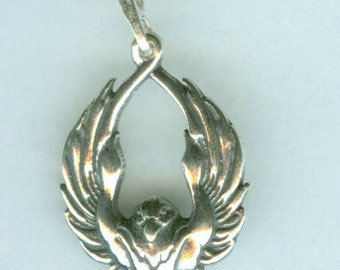 Sterling SOARING RAVEN Pendant AND 22 Inch Chain  - Totem
