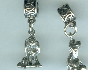 Sterling Silver COCKER SPANIEL DOG Bead Charm for  all Name Brand Add a Bead Bracelets - Charm - Heavy 3D