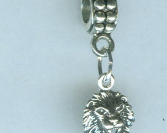 Sterling Silver LION HEAD Bead Charm for Trollbead, European and All Name Brand Add a Bead Bracelets
