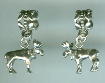 Sterling MOOSE Bead Charm for  all Name Brand Add a Bead Bracelets - 3D