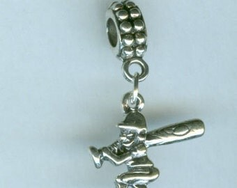 Sterling Silver BASEBALL Player at Bat  Bead Charm for All Name Brand Add a Bead Bracelets