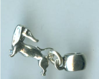Sterling DACHSHUND DOG Bead Charm for  All Name Brand Add a Bead Charm Bracelets - 3D