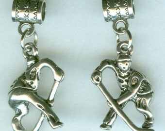 Silver HOCKEY PLAYER Bead Charm for Trollbead, European, and All Name Brand Add a Bead Bracelets  - 3D