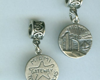 Sterling MIAMI Bead Charm for all Name Brand Add a Bead Bracelets -2 Sided