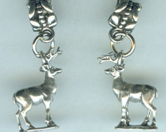 Sterling STAG DEER Bead Charm for Trollbead, European and all Name Brand Add a Bead Bracelets - 3D Heavy