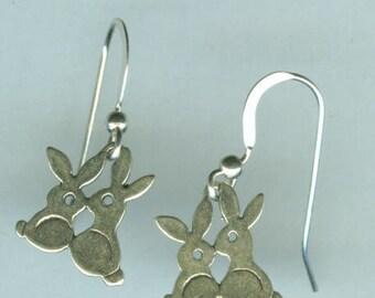 Sterling Silver LOVE BUNNY Earrings -  French Earwires -