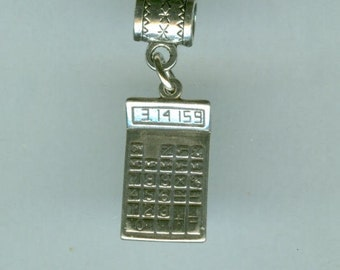 Sterling CALCULATOR Bead Charm for All Name Brand Add a Bead Bracelets - Accountant, Banker