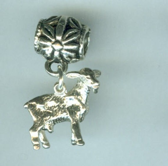 nanny goat sterling lg bead fits pandora troll add