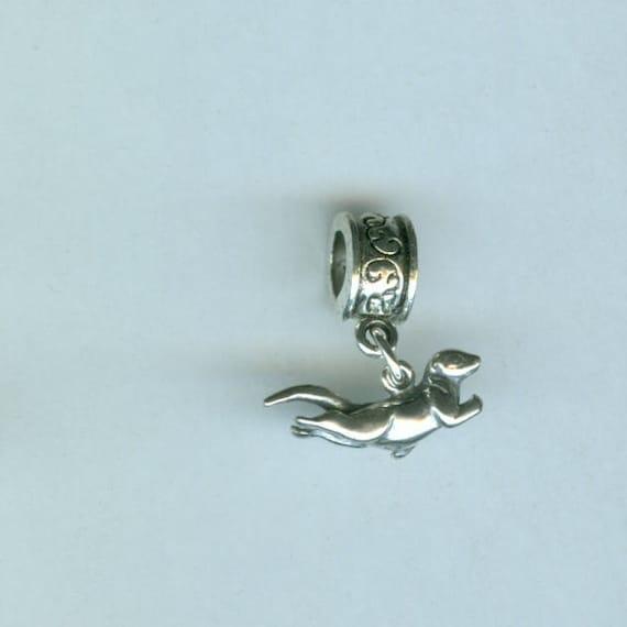 Sterling SWIMMING OTTER Bead Charm for Pandora, Troll, European Add a Bead Charm Bracelets