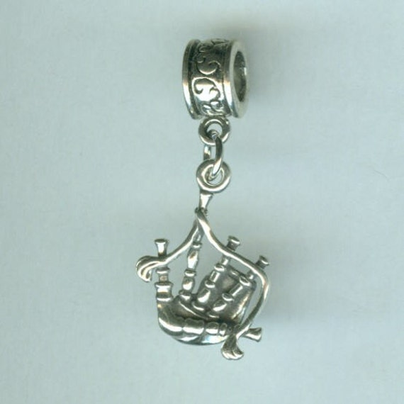 Sterling BAGPIPES Bead Charm for Trollbead, European and all Name Brand Add a Bead Bracelets - 3D Heavy