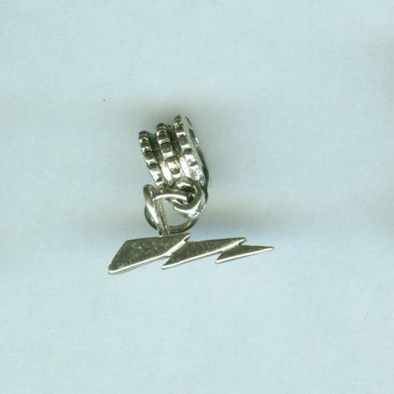 Sterling LIGHTNING BOLT Bead Charm for Trollbead, European, And All Name Brand Add a Bead Bracelets