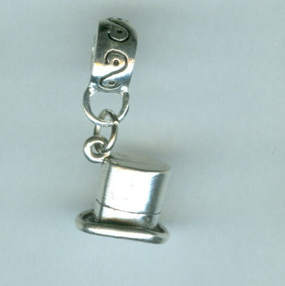 Sterling TOP HAT Bead charm for All Name Brand Add a Bead Bracelets - Heavy 3d