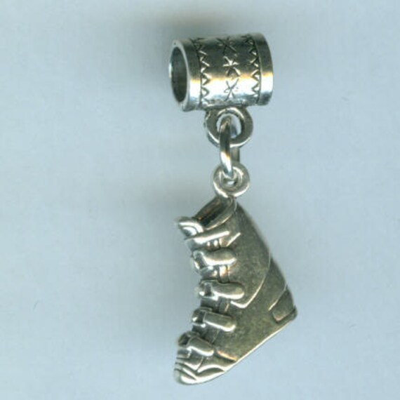 Sterling Silver SNOW SKI BOOT Bead Charm for Trollbead, European, and All Name Brand Add a Bead Bracelets