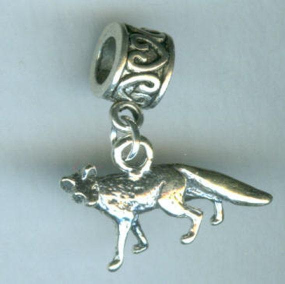 Sterling Silver FOX Bead Charm for Pandora, Troll, Add a Bead Charm Bracelet - 3D