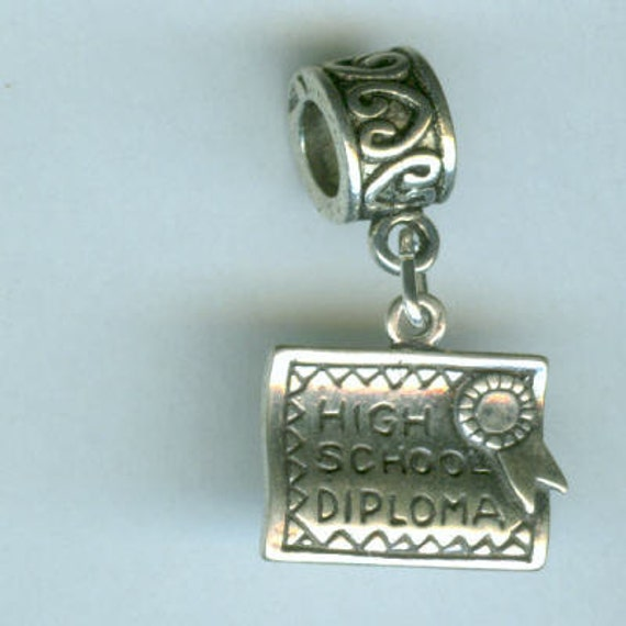 Sterling HIGH SCHOOL DIPLOMA Bead Charm for all  Name Brand Add a Bead Charm Bracelets - 3D Heavy