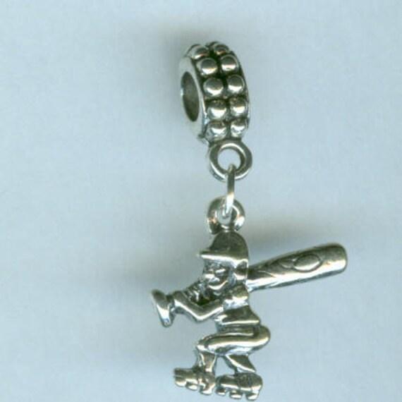Name Brand Bracelets: Sterling Silver BASEBALL Player At Bat Bead Charm For All