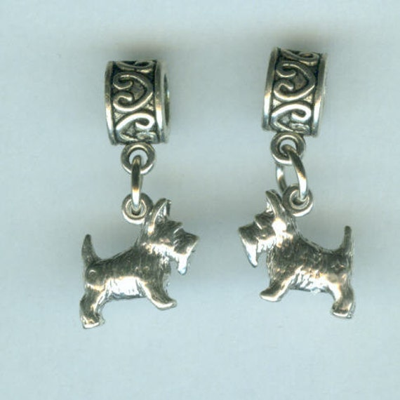 Sterling SCOTTY Dog Bead Charm for all Name Brand Add a Bead Bracelets  - 3D Heavy - Scottish Terrier