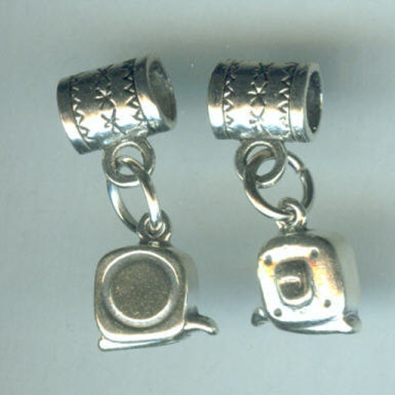 Sterling Silver MEASURING TAPE Bead Charm for all Name Brand Add a Bead Bracelets- 3D - Construction, Designer