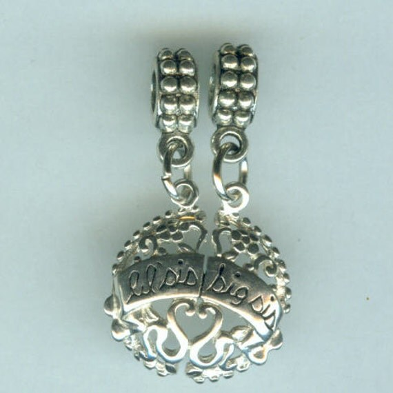 Name Brand Bracelets: Sterling BIG & LIL SIS Bead Charm For All Name Brand Add A