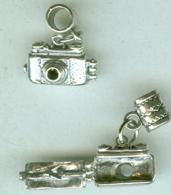 Sterling Silver CAMERA with BIRDIE  Bead Charm for Trollbead, European and Name Brand Add a Bead Bracelets   - 3D- Opens