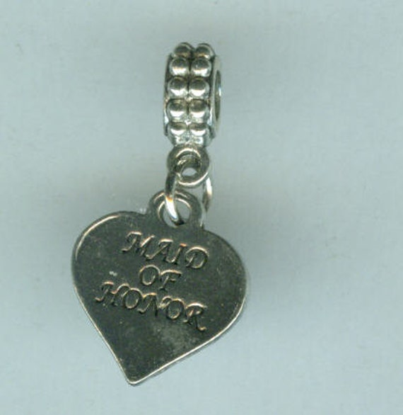 Silver MAID OF HONOR Bead Charm for All Name Brand Add a Bead Charm Bracelets