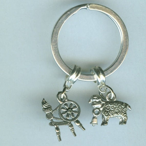 SPINNING WHEEL SHEEP Keyring, Keychain, Key Ring, Key Chain