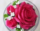 Pink Handcarved Rose Soap Flower