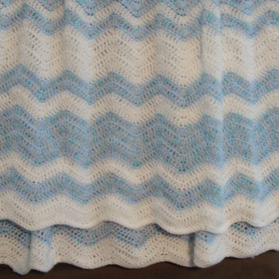 Crochet Baby Blanket Patterns Variegated Yarn : Crocheted Baby Blanket in Variegated Blue & by ...