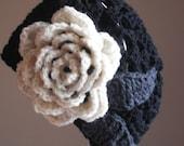 black 'n' white blooming slouchy beret