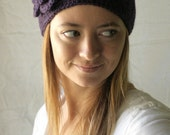 thick buttoning headband in plum
