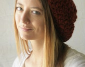 rust slouchy beret