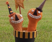 Party Jacks E Pattern - Halloween pumpkin primitive dolls-container pattern Free Shipping; Hafair; OFG; MHA; TeamHAHA; ADO; Haguild; Norga