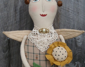 Sunflower Angel Primitive Doll E Pattern, Free Shipping; easy instructions by Starry Nites Farm; Hafair OFG TeamHAHA ADO Haguild Norga Nooga