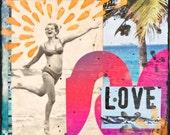 ELECTRIC LOVE, 8x10, 11x14, 16x20, Hand Signed Matted Print, 60's Vintage, Love, Beach, Bikini, Ocean Art, Gift, Beach, Palm Trees, Groovy