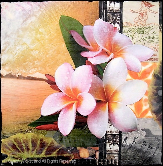 Island Style, 8x10, 11x14, 16x20, Hand Signed Matted Print, Best Sellers, plumeria, Hawaiian art,  wall decor, ocean art, Susan Wickstrand