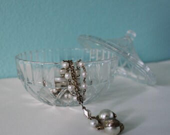 Fancy vintage glass dish with lid