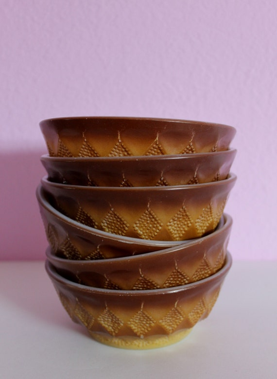 VINTAGE Set Of 6 Vintage Kimberly Pattern Fire-King Bowls