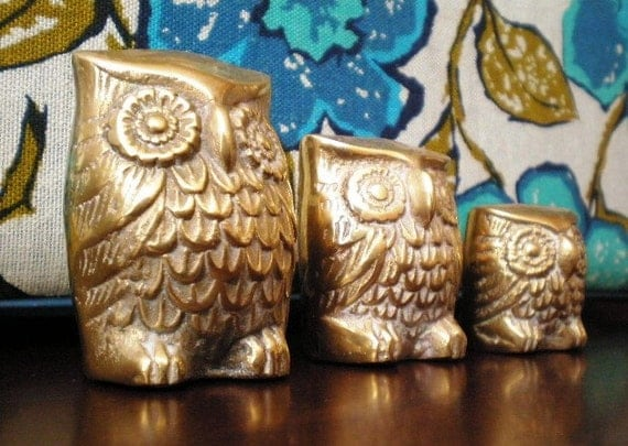 Vintage Brass Owl Family